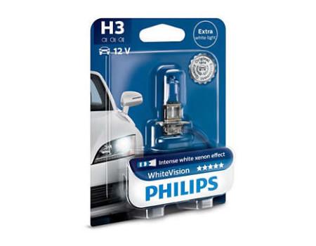 Auto sijalice PHILIPS H3 12V 55W PK22s – WHITE VISION Xenon efekat od 3700K – 12336WHVB1