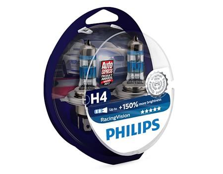 Auto sijalice PHILIPS H4 12V 60/55W P43t – RACING VISION do 150% više svetla – 12342RVS2