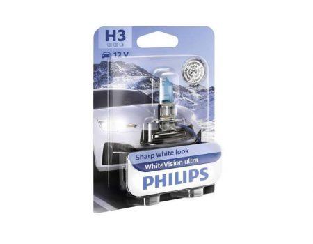 Auto sijalice H3 12V 55W PK22s – WhiteVision Ultra – od 3700K i 60% više svetla – 12336WVUB1