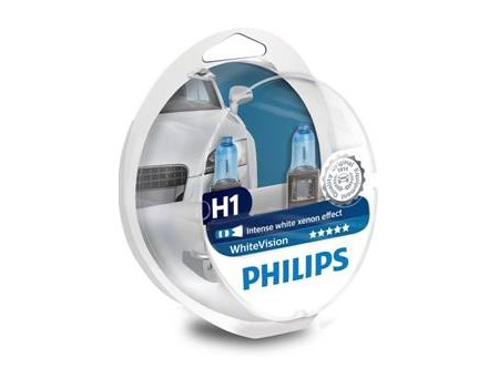 Auto sijalice PHILIPS H1 12V 55W P14.5s – WHITE VISION Xenon efekat od 3700K, dve H1 i dve ubodne 5W
