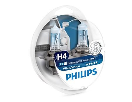 Auto sijalice PHILIPS H4 12V 60/55W P43t – WHITE VISION  Xenon efekat od 3700 K, dve H4 i dve 5W ubodne