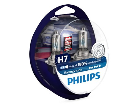 Auto sijalice PHILIPS H7 12V 55W PX26d – RACING VISION do 150% više svetla – 12972RVS2