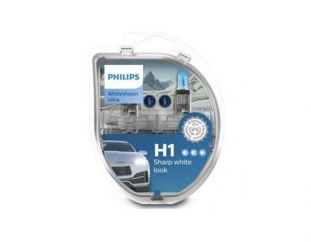 AUTO SIJALICE PHILIPS H1 12V 55W P14.5S – WHITEVISION ULTRA – 3700K I 60% VIŠE SVETLA (2X H1 + 2X W5W) SET – 12258WVUSM