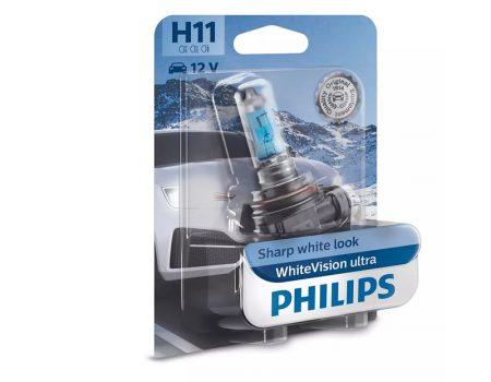 Auto sijalice PHILIPS H11 12V 55W PGJ19-2 – WhiteVision Ultra – 4000K i 60% više svetla – 12362WVUB1